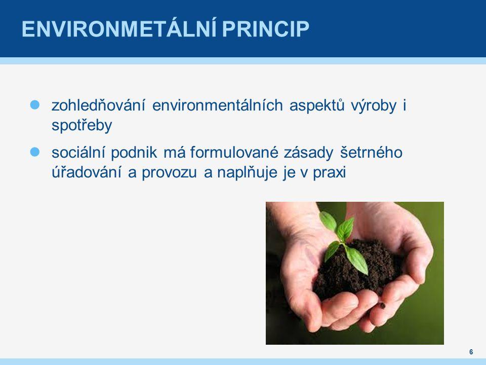ENVIRONMETÁLNÍ PRINCIP zohledňování environmentálních aspektů výroby i spotřeby sociální podnik má formulované zásady šetrného úřadování a provozu a naplňuje je v praxi 6
