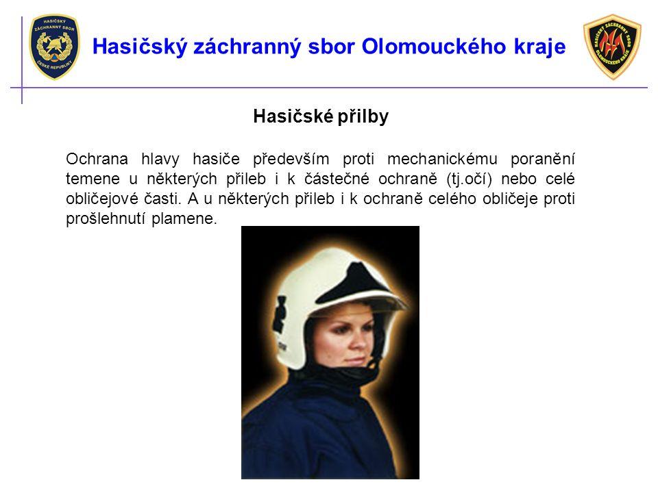 Hasičské přilby Ochrana hlavy hasiče především proti mechanickému poranění temene u některých přileb i k částečné ochraně (tj.očí) nebo celé obličejové časti.