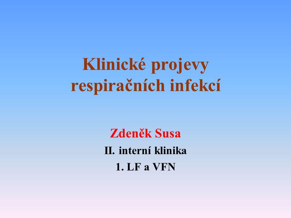 Klinické projevy respiračních infekcí Zdeněk Susa II. interní klinika 1. LF a VFN