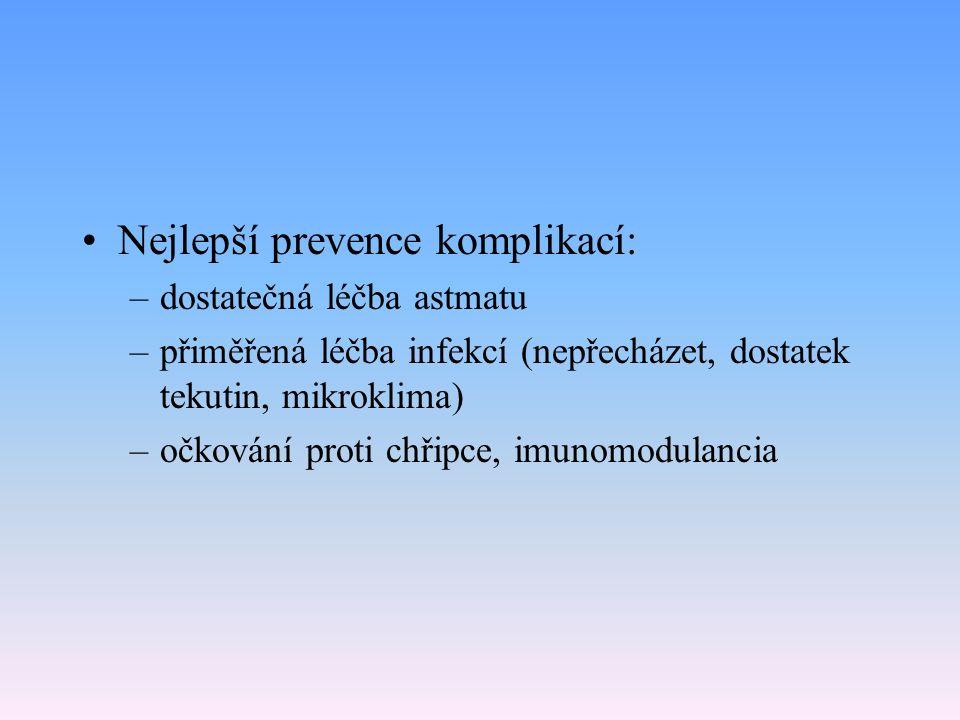 Nejlepší prevence komplikací: –dostatečná léčba astmatu –přiměřená léčba infekcí (nepřecházet, dostatek tekutin, mikroklima) –očkování proti chřipce, imunomodulancia