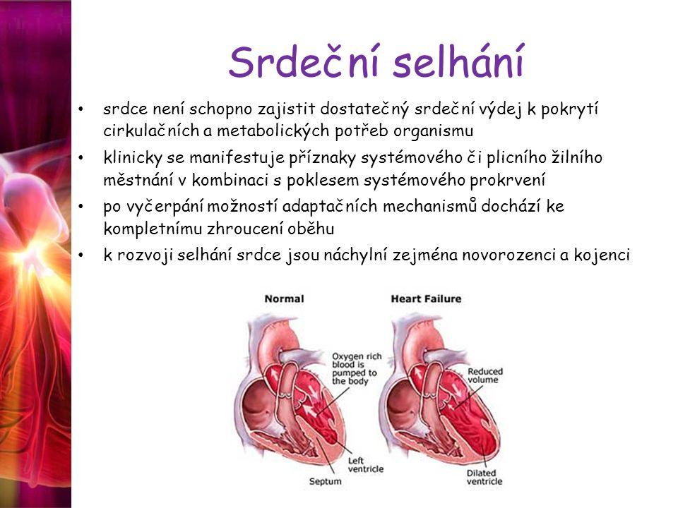 Srdeční selhání srdce není schopno zajistit dostatečný srdeční výdej k pokrytí cirkulačních a metabolických potřeb organismu klinicky se manifestuje p