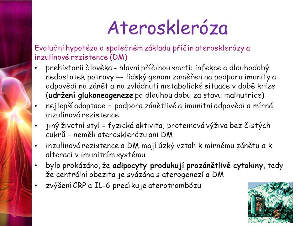 Ateroskleróza Evoluční hypotéza o společném základu příčin aterosklerózy a inzulínové rezistence (DM) prehistorii člověka - hlavní příčinou smrti: inf