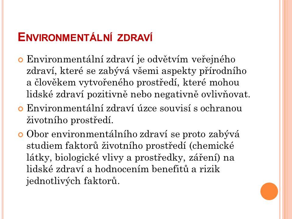 E NVIRONMENTÁLNÍ ZDRAVÍ Environmentální zdraví je odvětvím veřejného zdraví, které se zabývá všemi aspekty přírodního a člověkem vytvořeného prostředí, které mohou lidské zdraví pozitivně nebo negativně ovlivňovat.