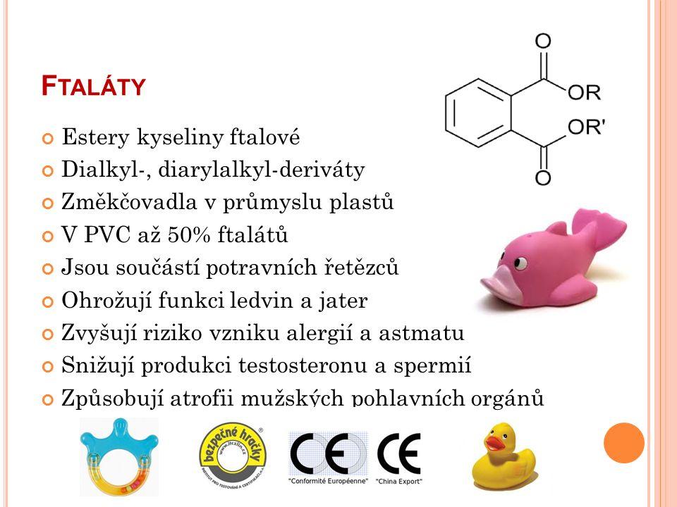 F TALÁTY Estery kyseliny ftalové Dialkyl-, diarylalkyl-deriváty Změkčovadla v průmyslu plastů V PVC až 50% ftalátů Jsou součástí potravních řetězců Ohrožují funkci ledvin a jater Zvyšují riziko vzniku alergií a astmatu Snižují produkci testosteronu a spermií Způsobují atrofii mužských pohlavních orgánů