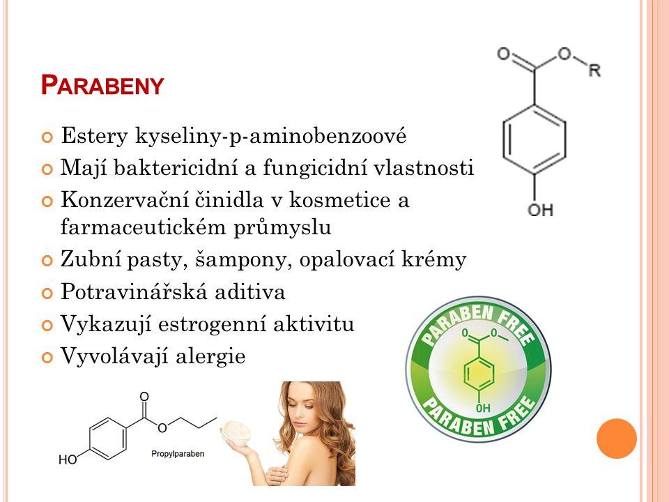 P ARABENY Estery kyseliny-p-aminobenzoové Mají baktericidní a fungicidní vlastnosti Konzervační činidla v kosmetice a farmaceutickém průmyslu Zubní pasty, šampony, opalovací krémy Potravinářská aditiva Vykazují estrogenní aktivitu Vyvolávají alergie