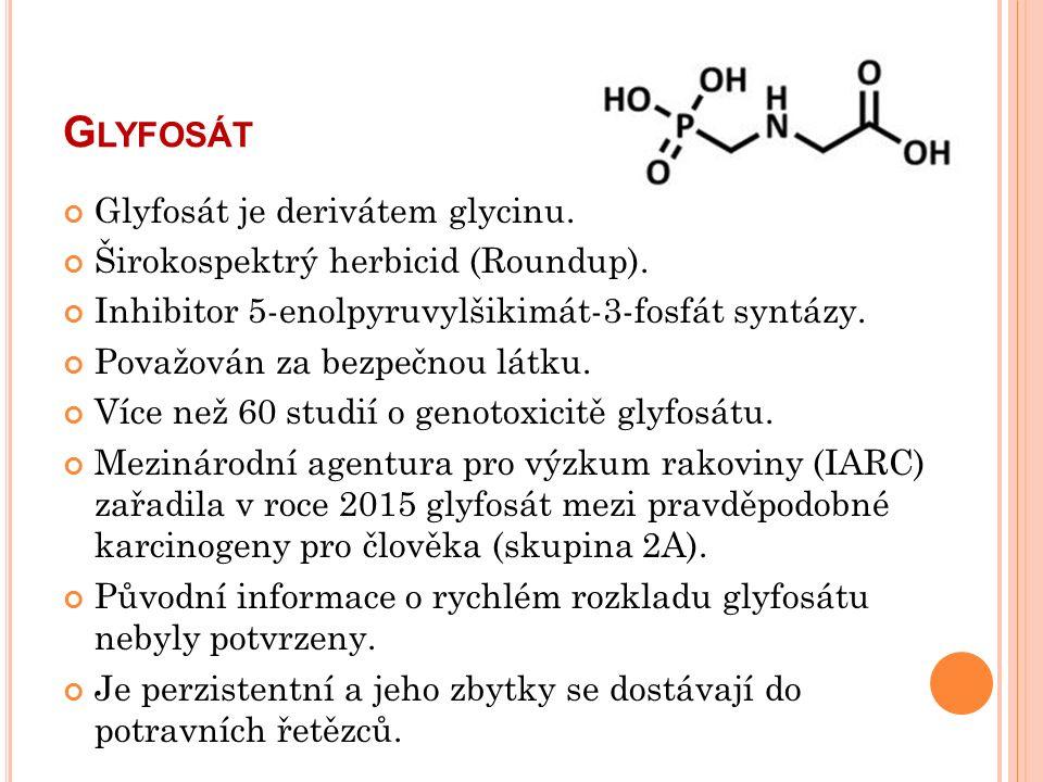 G LYFOSÁT Glyfosát je derivátem glycinu. Širokospektrý herbicid (Roundup).