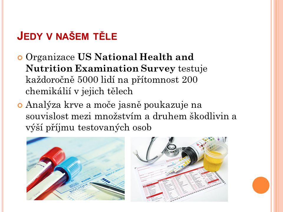 J EDY V NAŠEM TĚLE Organizace US National Health and Nutrition Examination Survey testuje každoročně 5000 lidí na přítomnost 200 chemikálií v jejich tělech Analýza krve a moče jasně poukazuje na souvislost mezi množstvím a druhem škodlivin a výší příjmu testovaných osob