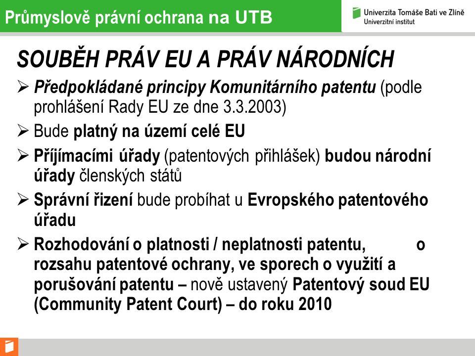 Průmyslově právní ochrana na UTB SOUBĚH PRÁV EU A PRÁV NÁRODNÍCH  Předpokládané principy Komunitárního patentu (podle prohlášení Rady EU ze dne 3.3.2