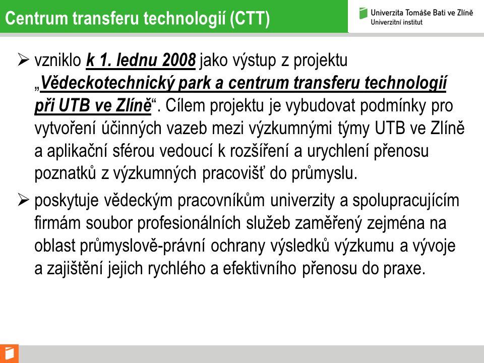 """ vzniklo k 1. lednu 2008 jako výstup z projektu """" Vědeckotechnický park a centrum transferu technologií při UTB ve Zlíně """". Cílem projektu je vybudov"""