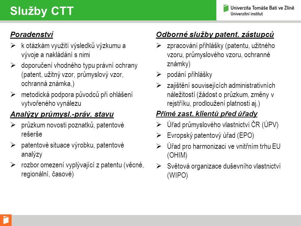 Služby CTT Poradenství  k otázkám využití výsledků výzkumu a vývoje a nakládání s nimi  doporučení vhodného typu právní ochrany (patent, užitný vzor