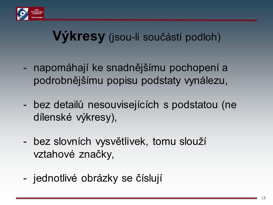 ÚŘAD PRŮMYSLOVÉHO VLASTNICTVÍ Česká republika 18 Výkresy (jsou-li součástí podloh) -napomáhají ke snadnějšímu pochopení a podrobnějšímu popisu podstaty vynálezu, -bez detailů nesouvisejících s podstatou (ne dílenské výkresy), -bez slovních vysvětlivek, tomu slouží vztahové značky, -jednotlivé obrázky se číslují