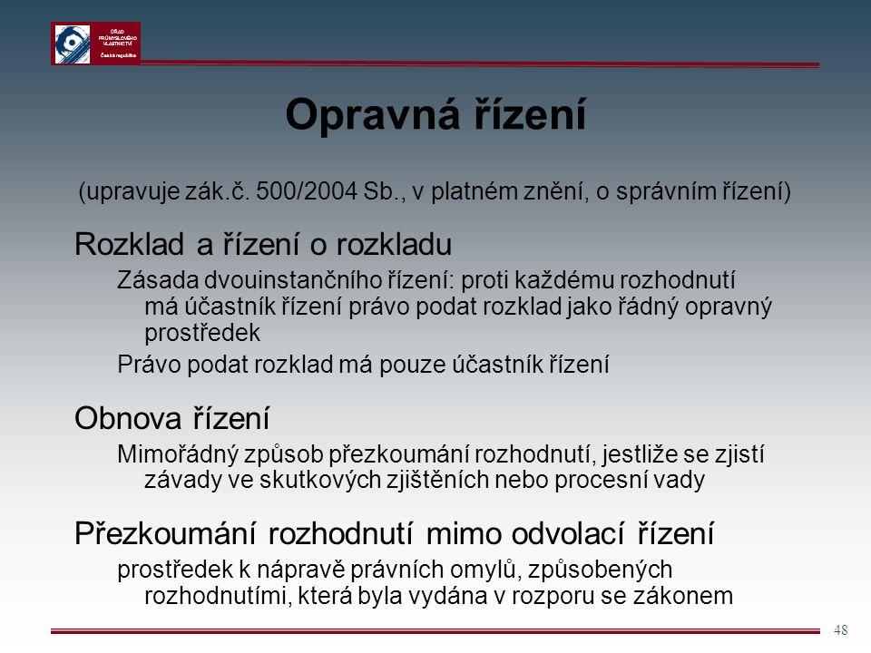 ÚŘAD PRŮMYSLOVÉHO VLASTNICTVÍ Česká republika 48 Opravná řízení (upravuje zák.č.