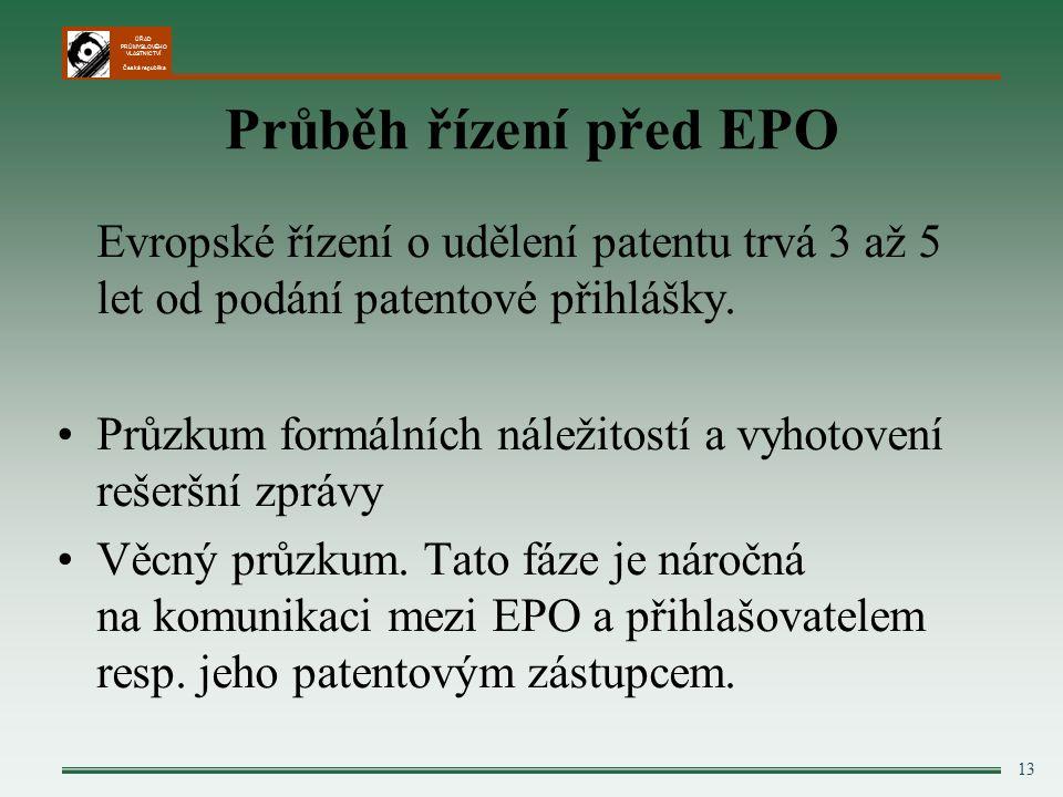 ÚŘAD PRŮMYSLOVÉHO VLASTNICTVÍ Česká republika 13 Průběh řízení před EPO Evropské řízení o udělení patentu trvá 3 až 5 let od podání patentové přihlášky.