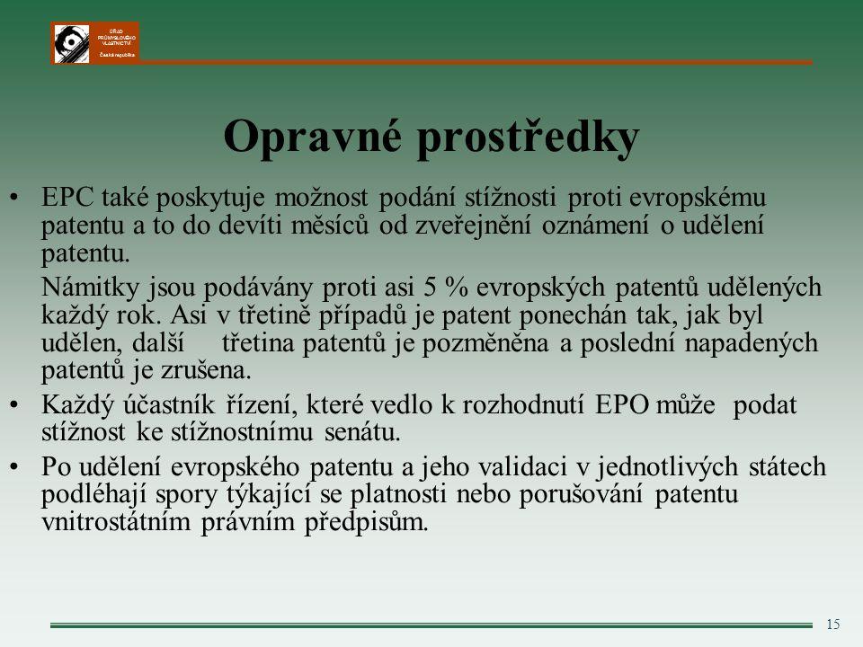 ÚŘAD PRŮMYSLOVÉHO VLASTNICTVÍ Česká republika 15 Opravné prostředky EPC také poskytuje možnost podání stížnosti proti evropskému patentu a to do devíti měsíců od zveřejnění oznámení o udělení patentu.