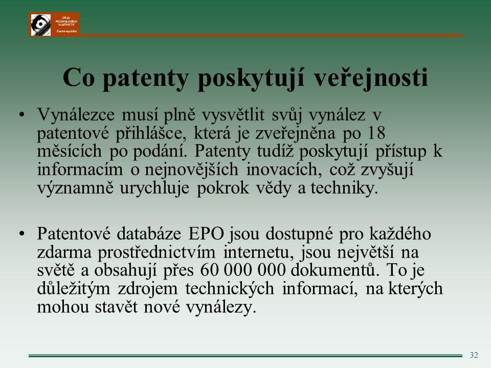 ÚŘAD PRŮMYSLOVÉHO VLASTNICTVÍ Česká republika 32 Co patenty poskytují veřejnosti Vynálezce musí plně vysvětlit svůj vynález v patentové přihlášce, která je zveřejněna po 18 měsících po podání.