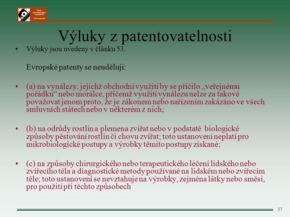 ÚŘAD PRŮMYSLOVÉHO VLASTNICTVÍ Česká republika 37 Výluky z patentovatelnosti Výluky jsou uvedeny v článku 53.