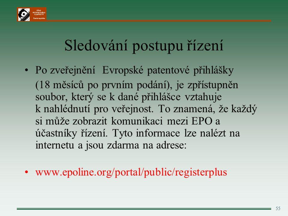 ÚŘAD PRŮMYSLOVÉHO VLASTNICTVÍ Česká republika 55 Sledování postupu řízení Po zveřejnění Evropské patentové přihlášky (18 měsíců po prvním podání), je zpřístupněn soubor, který se k dané přihlášce vztahuje k nahlédnutí pro veřejnost.