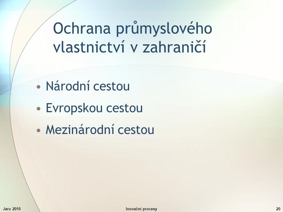 Jaro 2010Inovační procesy20 Ochrana průmyslového vlastnictví v zahraničí Národní cestou Evropskou cestou Mezinárodní cestou