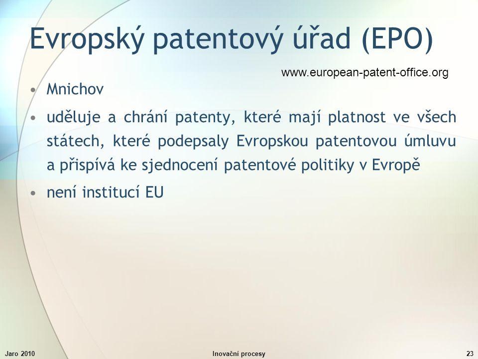 Jaro 2010Inovační procesy23 Evropský patentový úřad (EPO) Mnichov uděluje a chrání patenty, které mají platnost ve všech státech, které podepsaly Evropskou patentovou úmluvu a přispívá ke sjednocení patentové politiky v Evropě není institucí EU www.european-patent-office.org