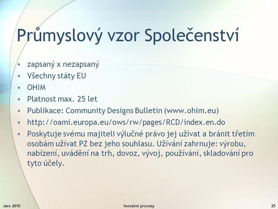 Jaro 2010Inovační procesy25 Průmyslový vzor Společenství zapsaný x nezapsaný Všechny státy EU OHIM Platnost max.