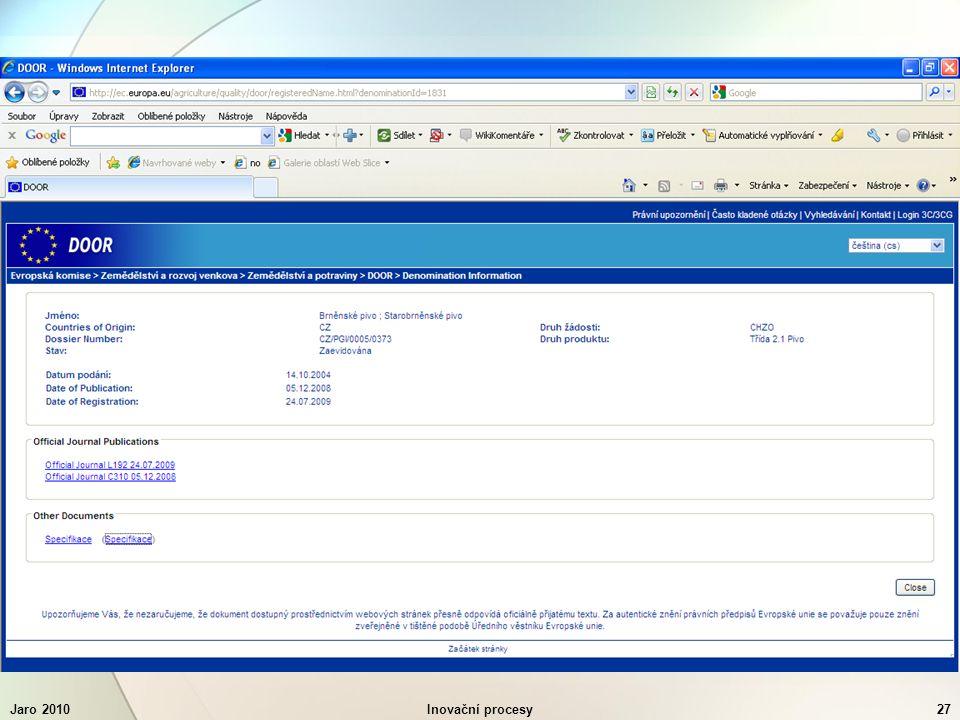Jaro 2010Inovační procesy27
