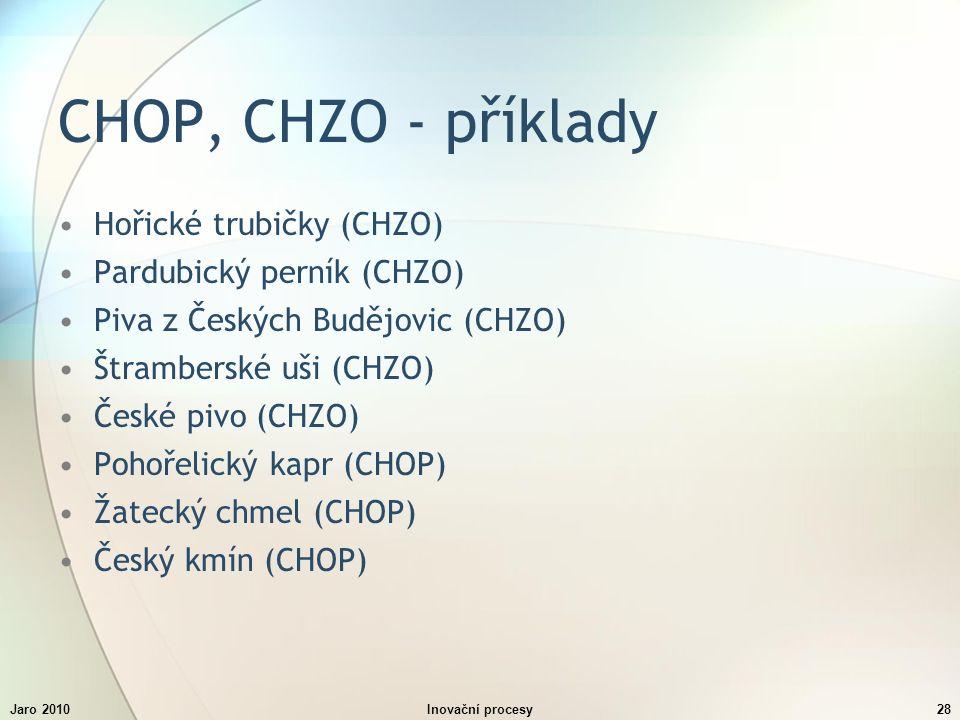 Jaro 2010Inovační procesy28 CHOP, CHZO - příklady Hořické trubičky (CHZO) Pardubický perník (CHZO) Piva z Českých Budějovic (CHZO) Štramberské uši (CHZO) České pivo (CHZO) Pohořelický kapr (CHOP) Žatecký chmel (CHOP) Český kmín (CHOP)