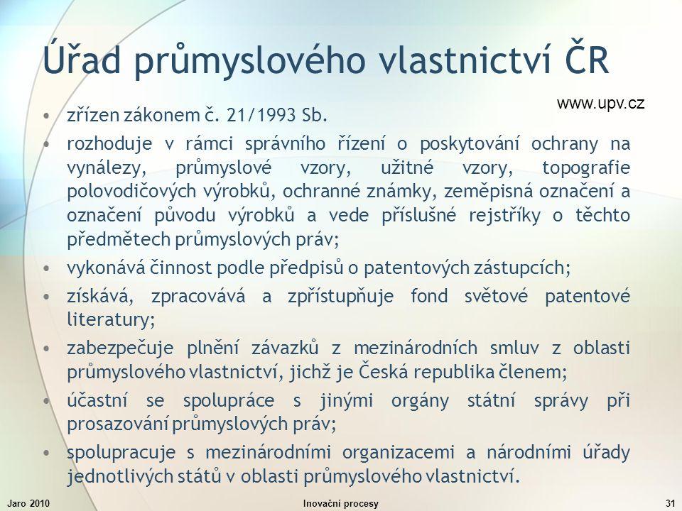 Jaro 2010Inovační procesy31 Úřad průmyslového vlastnictví ČR zřízen zákonem č.