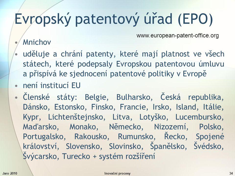 Jaro 2010Inovační procesy34 Evropský patentový úřad (EPO) Mnichov uděluje a chrání patenty, které mají platnost ve všech státech, které podepsaly Evropskou patentovou úmluvu a přispívá ke sjednocení patentové politiky v Evropě není institucí EU Členské státy: Belgie, Bulharsko, Česká republika, Dánsko, Estonsko, Finsko, Francie, Irsko, Island, Itálie, Kypr, Lichtenštejnsko, Litva, Lotyško, Lucembursko, Maďarsko, Monako, Německo, Nizozemí, Polsko, Portugalsko, Rakousko, Rumunsko, Řecko, Spojené království, Slovensko, Slovinsko, Španělsko, Švédsko, Švýcarsko, Turecko + systém rozšíření www.european-patent-office.org