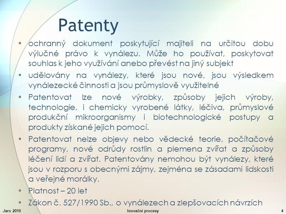 Jaro 2010Inovační procesy4 Patenty ochranný dokument poskytující majiteli na určitou dobu výlučné právo k vynálezu.