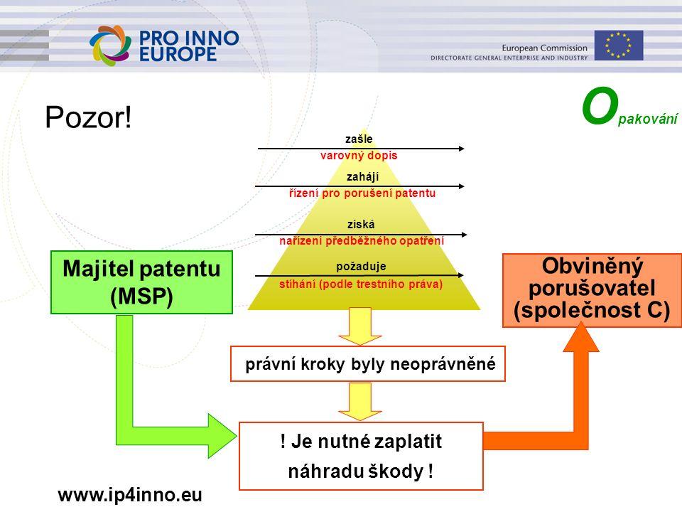 www.ip4inno.eu Pozor! Majitel patentu (MSP) zašle varovný dopis získá nařízení předběžného opatření zahájí řízení pro porušení patentu požaduje stíhán