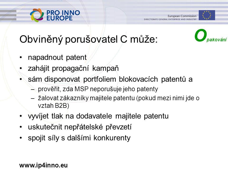 www.ip4inno.eu Obviněný porušovatel C může: napadnout patent zahájit propagační kampaň sám disponovat portfoliem blokovacích patentů a –prověřit, zda MSP neporušuje jeho patenty –žalovat zákazníky majitele patentu (pokud mezi nimi jde o vztah B2B) vyvíjet tlak na dodavatele majitele patentu uskutečnit nepřátelské převzetí spojit síly s dalšími konkurenty O pakování