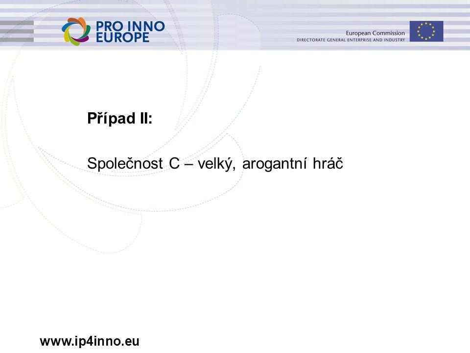 www.ip4inno.eu Případ II: Společnost C – velký, arogantní hráč