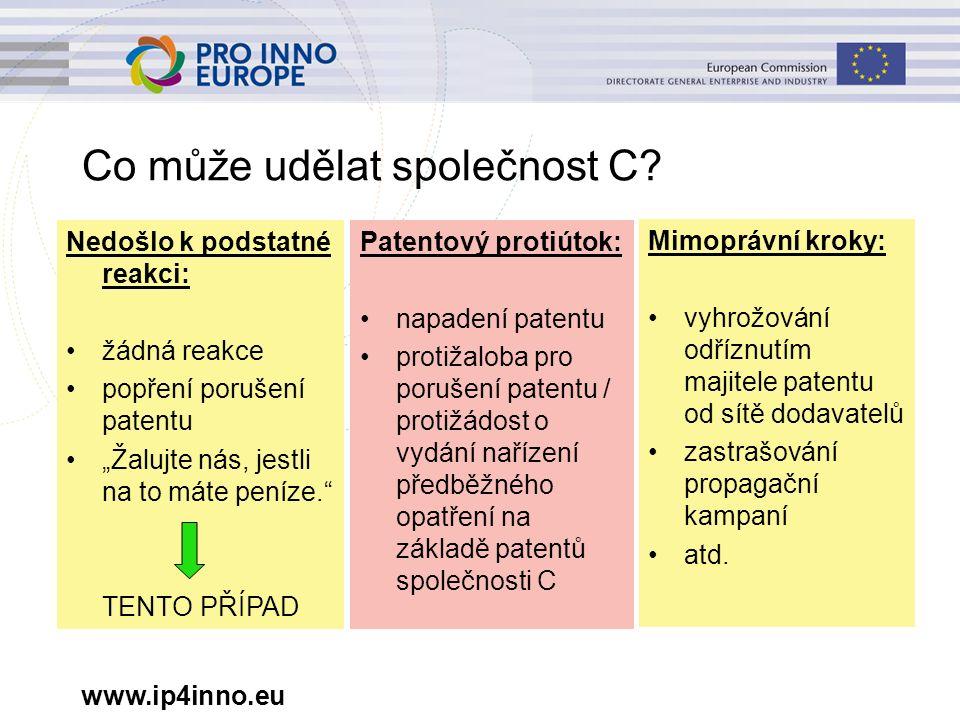 www.ip4inno.eu Co může udělat společnost C? Mimoprávní kroky: vyhrožování odříznutím majitele patentu od sítě dodavatelů zastrašování propagační kampa
