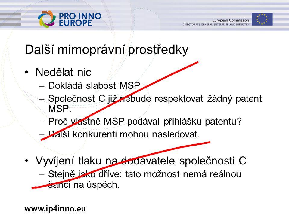www.ip4inno.eu Další mimoprávní prostředky Nedělat nic –Dokládá slabost MSP. –Společnost C již nebude respektovat žádný patent MSP. –Proč vlastně MSP