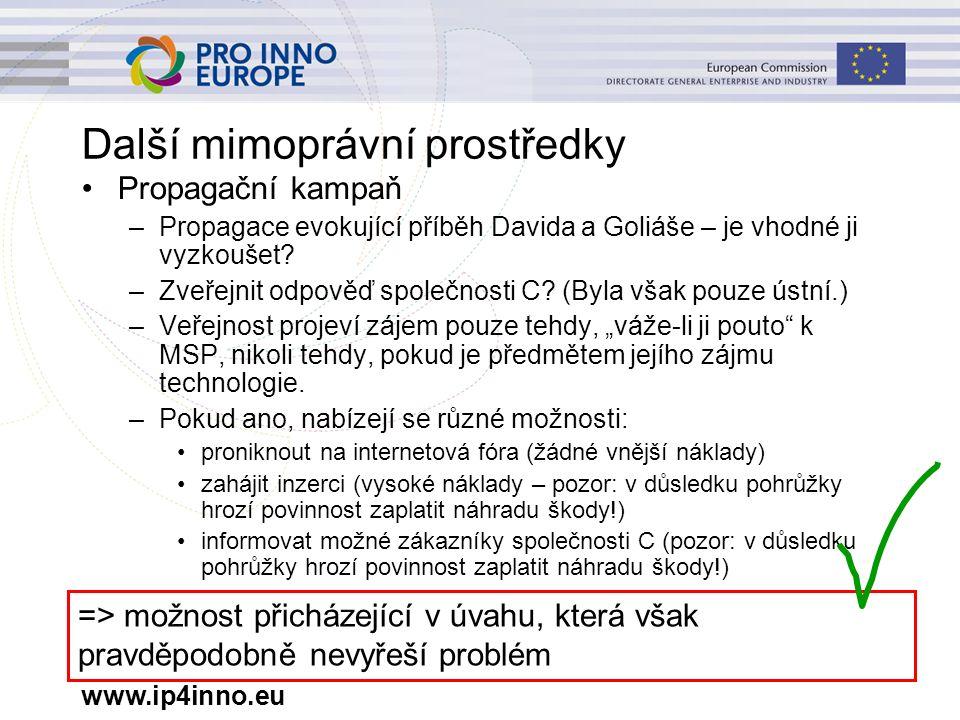 www.ip4inno.eu Další mimoprávní prostředky Propagační kampaň –Propagace evokující příběh Davida a Goliáše – je vhodné ji vyzkoušet.