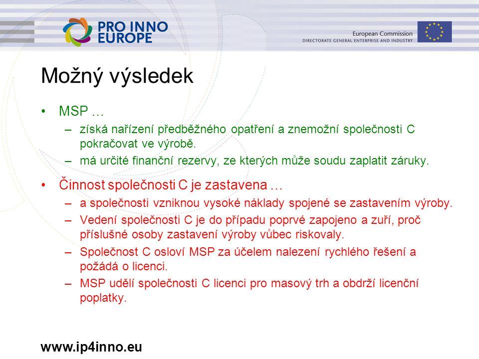 www.ip4inno.eu Možný výsledek MSP … –získá nařízení předběžného opatření a znemožní společnosti C pokračovat ve výrobě. –má určité finanční rezervy, z