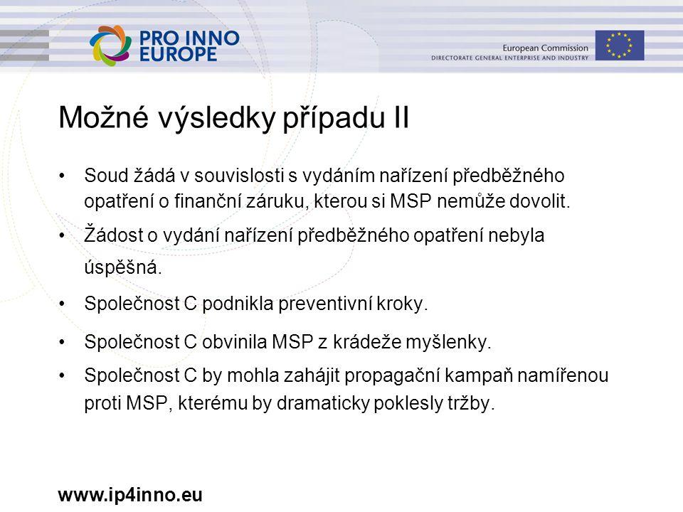 www.ip4inno.eu Možné výsledky případu II Soud žádá v souvislosti s vydáním nařízení předběžného opatření o finanční záruku, kterou si MSP nemůže dovol