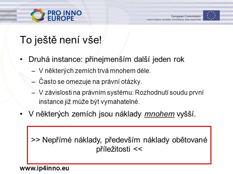 www.ip4inno.eu To ještě není vše! Druhá instance: přinejmenším další jeden rok –V některých zemích trvá mnohem déle. –Často se omezuje na právní otázk