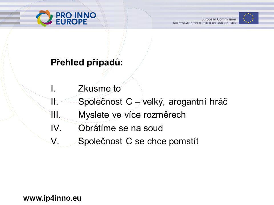 www.ip4inno.eu Možný časový průběh žaloby rozhodnutí o kontrole výrobního závodu rozhodnutí o upuštění od porušování patentu, náhradě škody ve věci samé a o kontrole účetních záznamů rozhodnutí o výši náhrady škody strany předkládají další argumenty s ohledem na výsledky kontroly strany předkládají další argumenty/výpočty s ohledem na výsledky kontroly výkon rozhodnutí