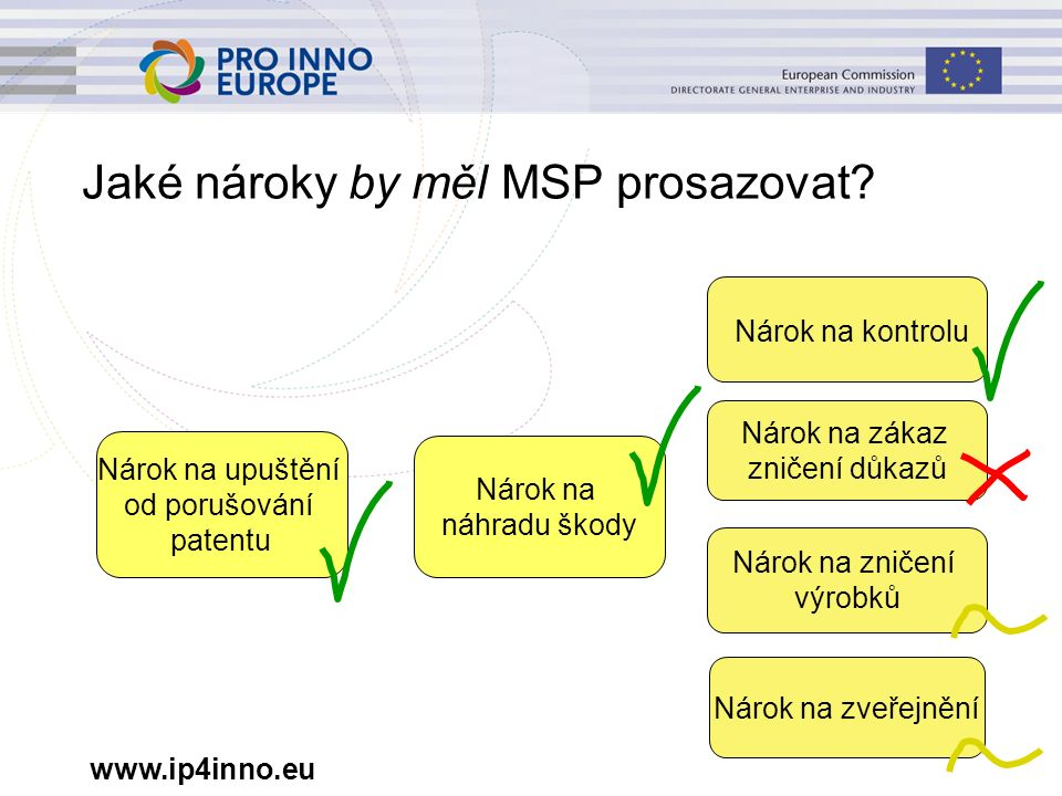 www.ip4inno.eu Jaké nároky by měl MSP prosazovat? Nárok na upuštění od porušování patentu Nárok na náhradu škody Nárok na kontrolu Nárok na zveřejnění