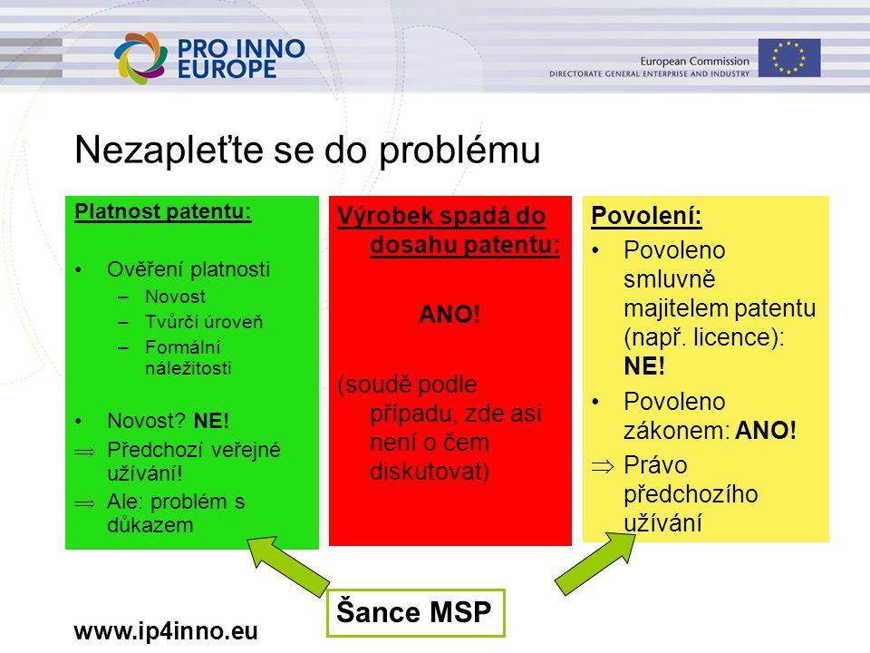 www.ip4inno.eu Nezapleťte se do problému Platnost patentu: Ověření platnosti –Novost –Tvůrčí úroveň –Formální náležitosti Novost? NE!  Předchozí veře