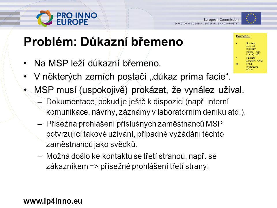 """www.ip4inno.eu Problém: Důkazní břemeno Na MSP leží důkazní břemeno. V některých zemích postačí """"důkaz prima facie"""". MSP musí (uspokojivě) prokázat, ž"""
