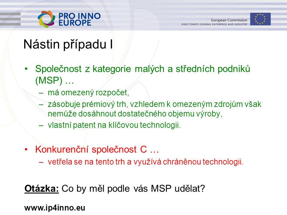 www.ip4inno.eu Nástin případu I Společnost z kategorie malých a středních podniků (MSP) … –má omezený rozpočet, –zásobuje prémiový trh, vzhledem k ome