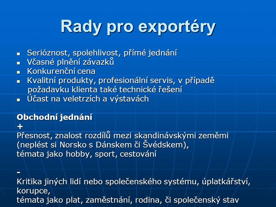 Rady pro exportéry Serióznost, spolehlivost, přímé jednání Serióznost, spolehlivost, přímé jednání Včasné plnění závazků Včasné plnění závazků Konkurenční cena Konkurenční cena Kvalitní produkty, profesionální servis, v případě Kvalitní produkty, profesionální servis, v případě požadavku klienta také technické řešení požadavku klienta také technické řešení Účast na veletrzích a výstavách Účast na veletrzích a výstavách Obchodní jednání + Přesnost, znalost rozdílů mezi skandinávskými zeměmi (neplést si Norsko s Dánskem či Švédskem), témata jako hobby, sport, cestování - Kritika jiných lidí nebo společenského systému, úplatkářství, korupce, témata jako plat, zaměstnání, rodina, či společenský stav