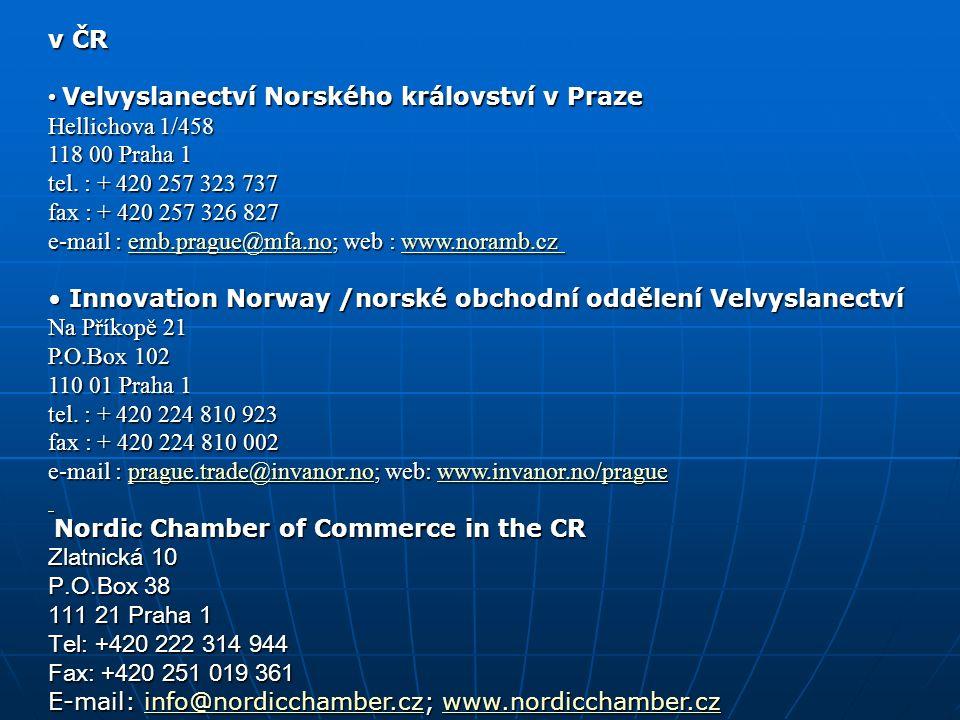 v ČR Velvyslanectví Norského království v Praze Hellichova 1/458 118 00 Praha 1 tel.