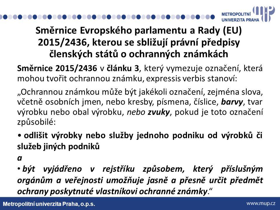 Metropolitní univerzita Praha, o.p.s. Směrnice Evropského parlamentu a Rady (EU) 2015/2436, kterou se sbližují právní předpisy členských států o ochra
