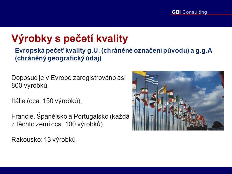 GBI Consulting Výrobky s pečetí kvality Evropská pečeť kvality g.U. (chráněné označení původu) a g.g.A (chráněný geografický údaj) Doposud je v Evropě