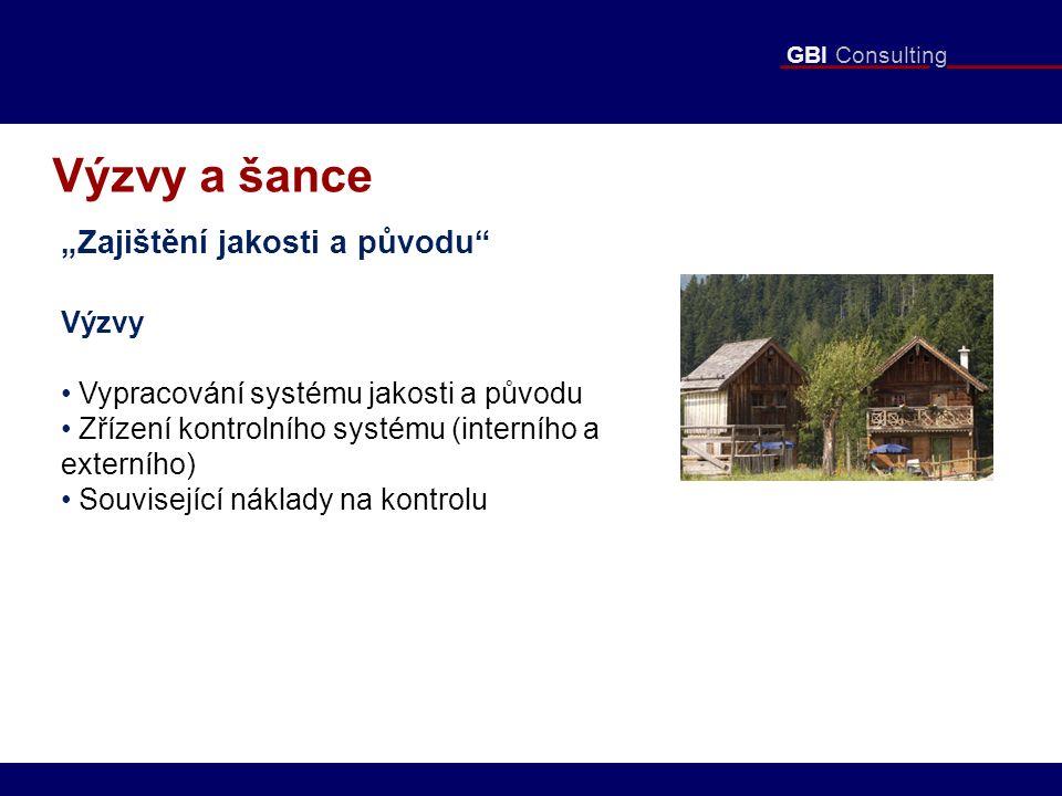 """GBI Consulting Výzvy a šance """"Zajištění jakosti a původu Výzvy Vypracování systému jakosti a původu Zřízení kontrolního systému (interního a externího) Související náklady na kontrolu"""