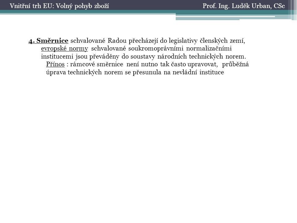 Prof. Ing. Luděk Urban, CScVnitřní trh EU: Volný pohyb zboží 4.
