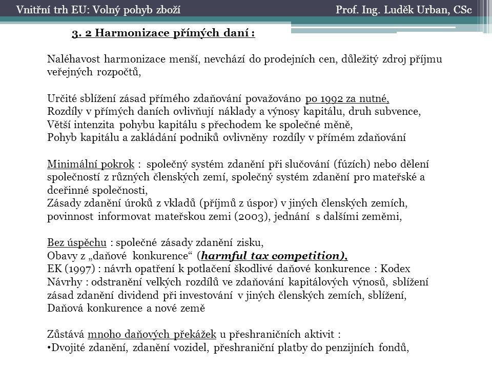 Prof. Ing. Luděk Urban, CScVnitřní trh EU: Volný pohyb zboží 3.